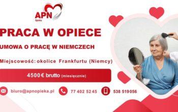 APN - Praca w charakterze osoby prowadzącej dom oraz opieki nad Podopieczną - okolice Frankfurtu